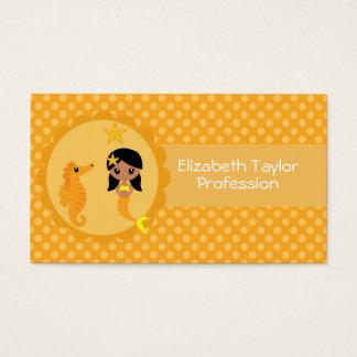Cute Mermaid in Orange Business Card