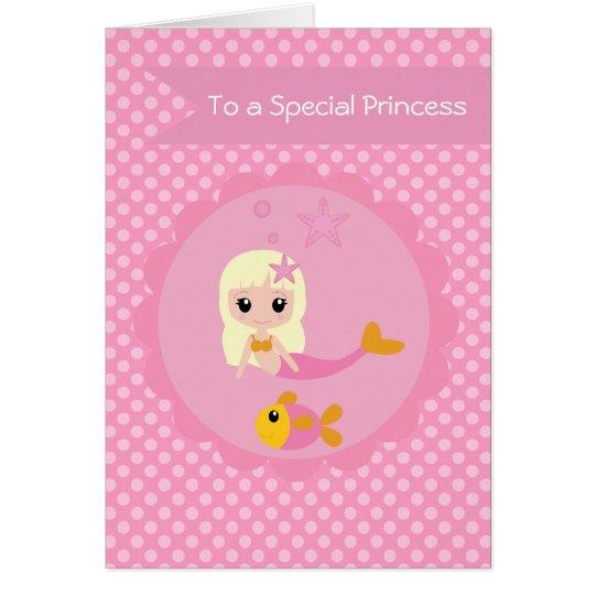 Cute Mermaid in Pink Card