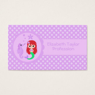 Cute Mermaid in Purple Business Card