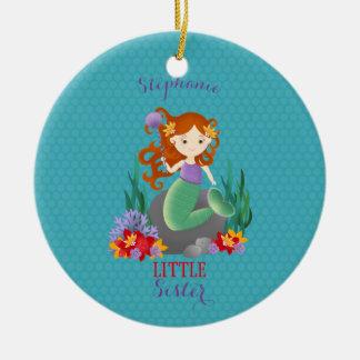 Cute Mermaid Little Sister Christmas Ornament