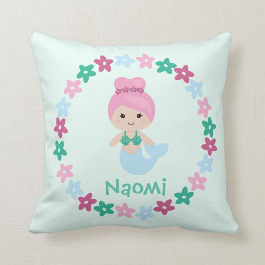 Cute Mermaid Name Pillow Mint Green and Pink