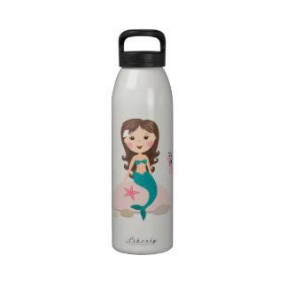 Cute mermaid on rock cartoon custom water bottle