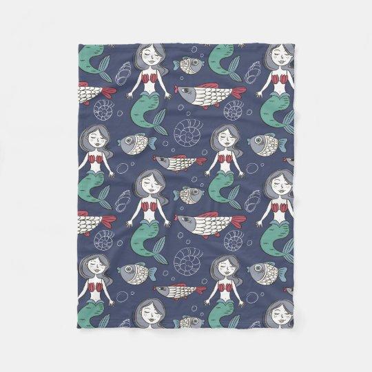 Cute Mermaid Pattern fleece blankets