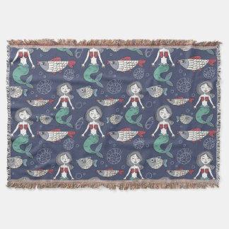 Cute Mermaid Pattern throw blanket
