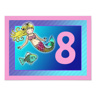 "Cute Mermaid Personalized Birthday Party Invites 6.5"" X 8.75"" Invitation Card"