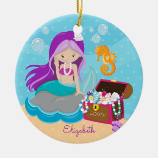 Cute Mermaid Personalized Christmas Ornament