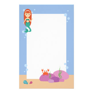 Cute mermaid princess girl swimming in ocean stationery