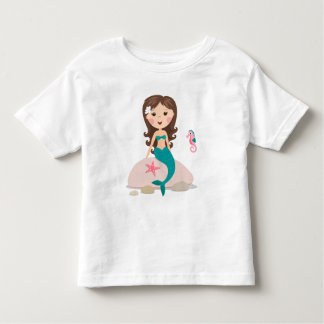 Cute mermaid sitting on a rock  with seahorse tee