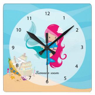 Cute Mermaid Square Wall Clock