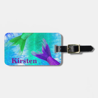 Cute Mermaid Tails & Blue Scales Luggage Tag