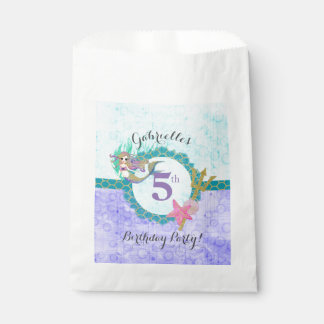 Cute Mermaid Teal & Purple Birthday Party Favour Bags