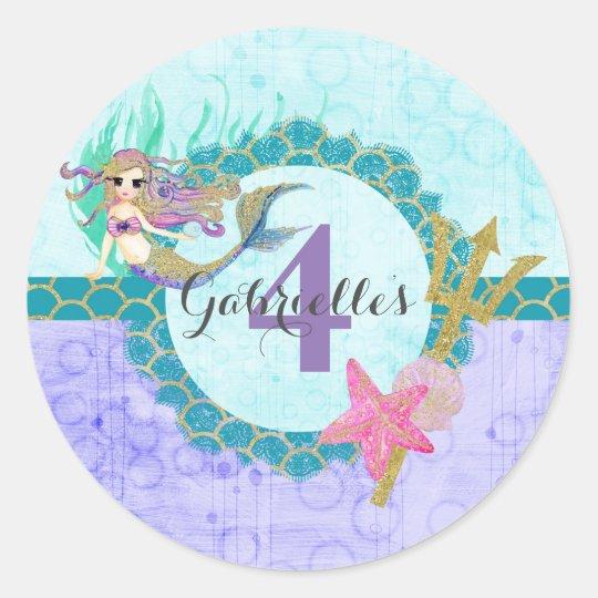 Cute Mermaid Teal & Purple Name Age Birthday