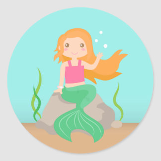 Cute Mermaid under the sea, for Girls Classic Round Sticker