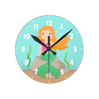 Cute Mermaid under the sea, for Girls Round Clock