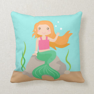 Cute Mermaid under the sea, for Girls Throw Pillow
