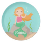 Cute Mermaid Under the Sea Personalised Plate