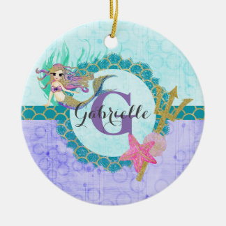 Cute Mermaid Watercolor Purple Monogram Baby Girl Round Ceramic Decoration