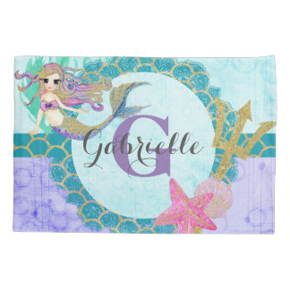 Cute Mermaid Watercolor Teal & Purple Monogram Pillowcase