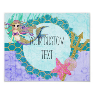 Cute Mermaid Watercolor Teal & Purple Monogram Poster