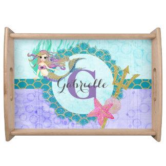 Cute Mermaid Watercolor Teal & Purple Monogram Serving Tray
