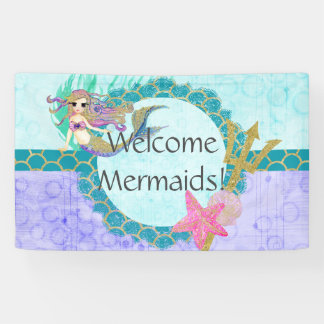 Cute Mermaid Welcome Mermaids Birthday Party