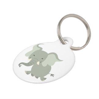 Cute Merry Cartoon Elephant Dog Tag