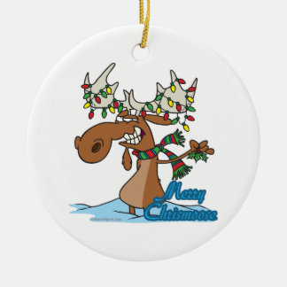 cute merry chrismoose silly christmas moose christmas ornament