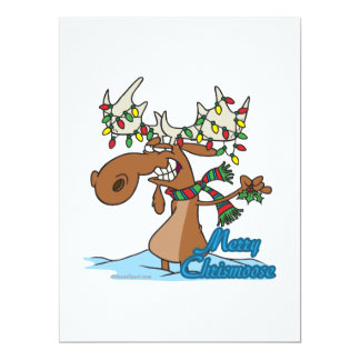 cute merry chrismoose silly christmas moose personalized invitations