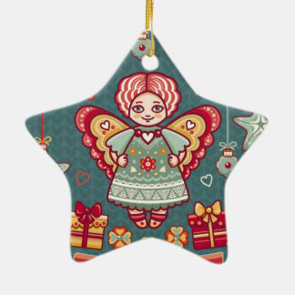 Cute Merry Christmas Angel and presents Christmas Ornament