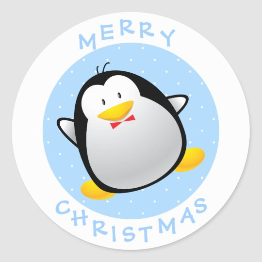 Cute Merry Christmas Cartoon Penguin Classic Round Sticker