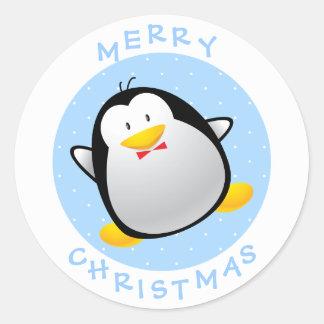 Cute Merry Christmas Cartoon Penguin Round Sticker