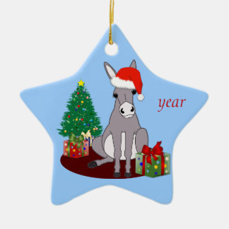 Cute Merry Christmas Donkey Christmas Ornament