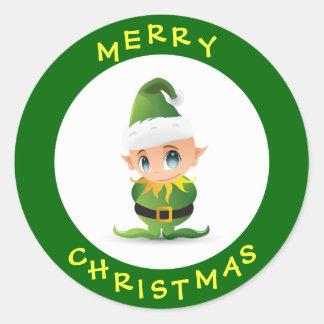 Cute Merry Christmas Elf Round Sticker