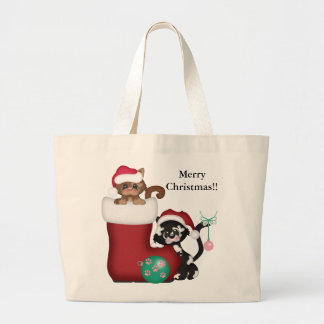 Cute Merry Christmas Kittens Tote Bag