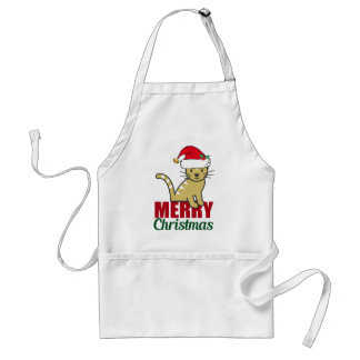 Cute Merry Christmas Kitty Cat Standard Apron