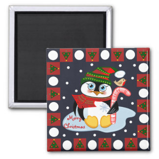 Cute Merry Christmas magnet with Penguin and Robin