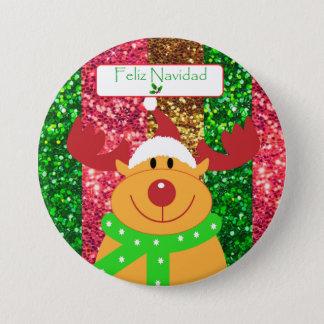 """Cute Merry Christmas Moose Button """"Feliz Navidad"""""""