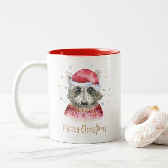 Cute Merry Christmas Racoon Animal Mug