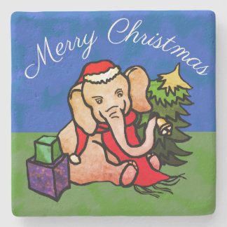 Cute Merry Christmas Santa Cartoon Elephant Stone Coaster