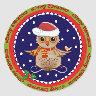 Cute Merry Christmas sticker with Santa Owl