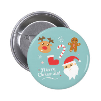 Cute Merry Christmas with Reindeer and Gingerbread 6 Cm Round Badge