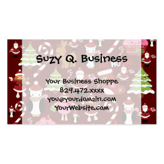 Cute Merry Christmas Xmas Holiday Pattern Business Cards