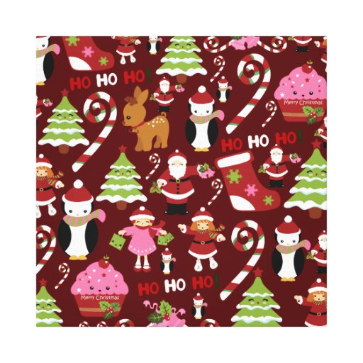 Cute Merry Christmas Xmas Holiday Pattern Gallery Wrapped Canvas