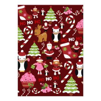 Cute Merry Christmas Xmas Holiday Pattern Invite