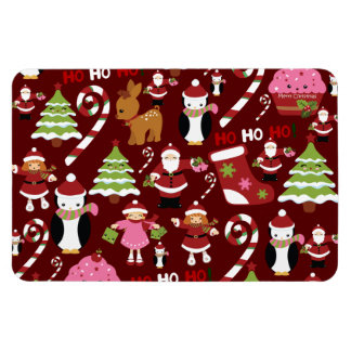 Cute Merry Christmas Xmas Holiday Pattern Magnet
