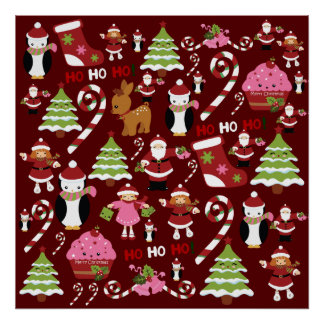 Cute Merry Christmas Xmas Holiday Pattern Poster