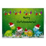 Cute Merry Christmasaurus Dinosaurs Christmas Card