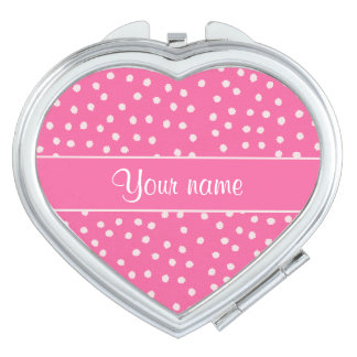 Cute Messy White Polka Dots Pink Background Vanity Mirror