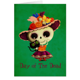 Cute Mexican Day of The Dead Girl Greeting Card