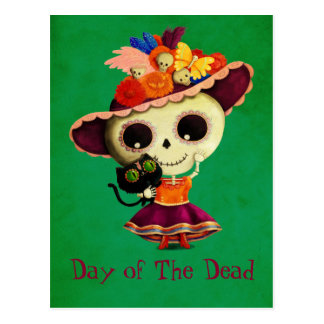 Cute Mexican Day of The Dead Girl Postcard
